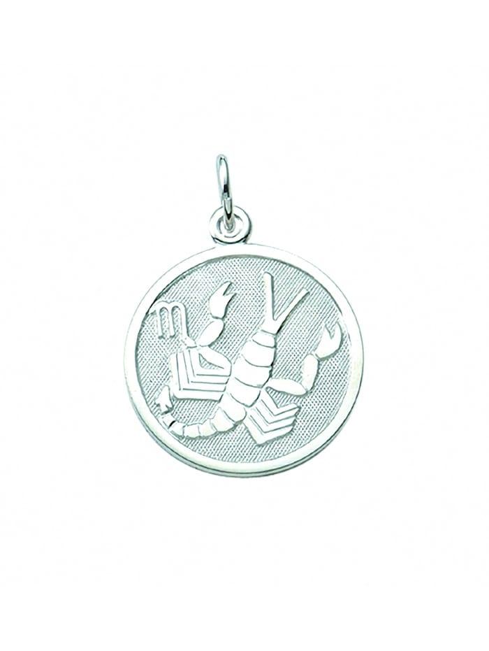1001 Diamonds Damen & Herren Silberschmuck 925 Silber Sternzeichen Anhänger Skorpion Ø 15,7 mm, silber