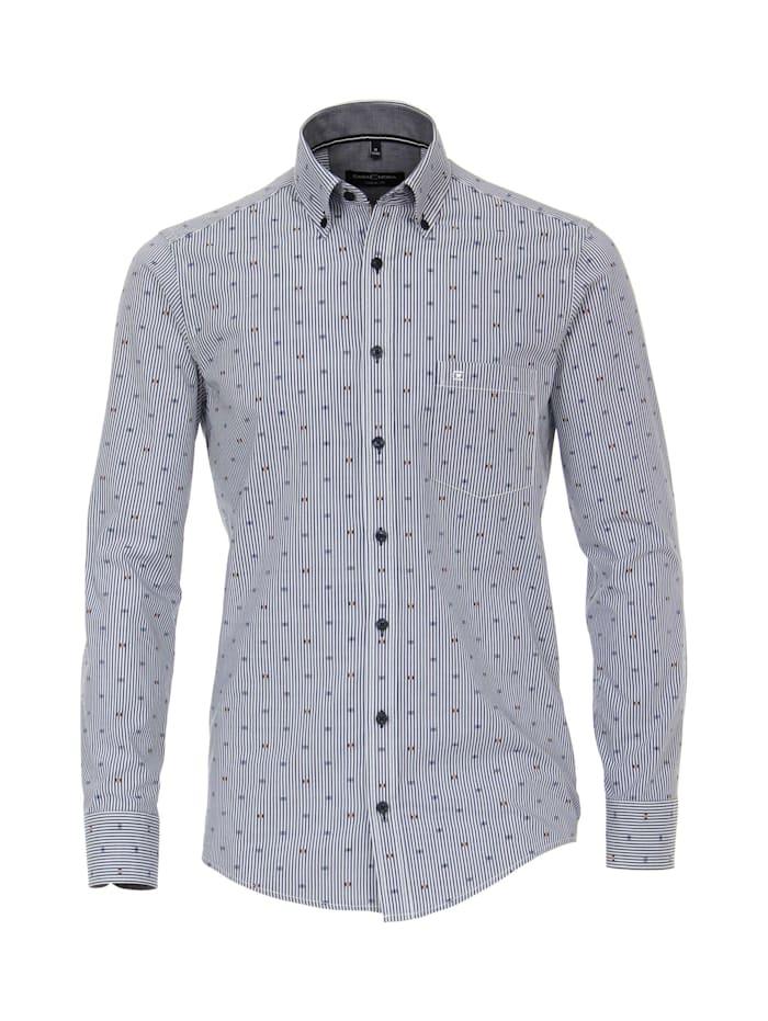 CASAMODA Hemd gestreift Casual Fit, graues Mittelblau