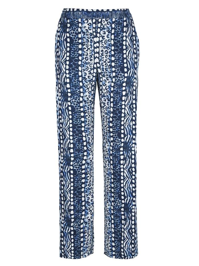 MONA Pantalon à ravissant imprimé animal, Bleu ciel/Marine