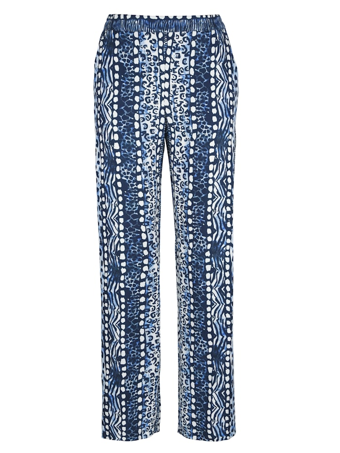 MONA Pull-on trousers in animal print, Light Blue/Navy