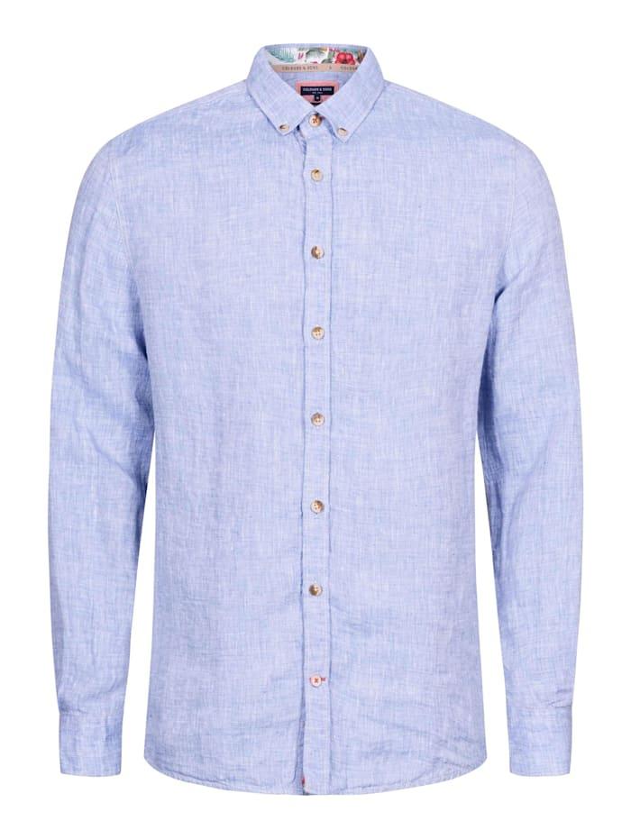 COLOURS & SONS Leinenhemd Liam Label-Details, blau