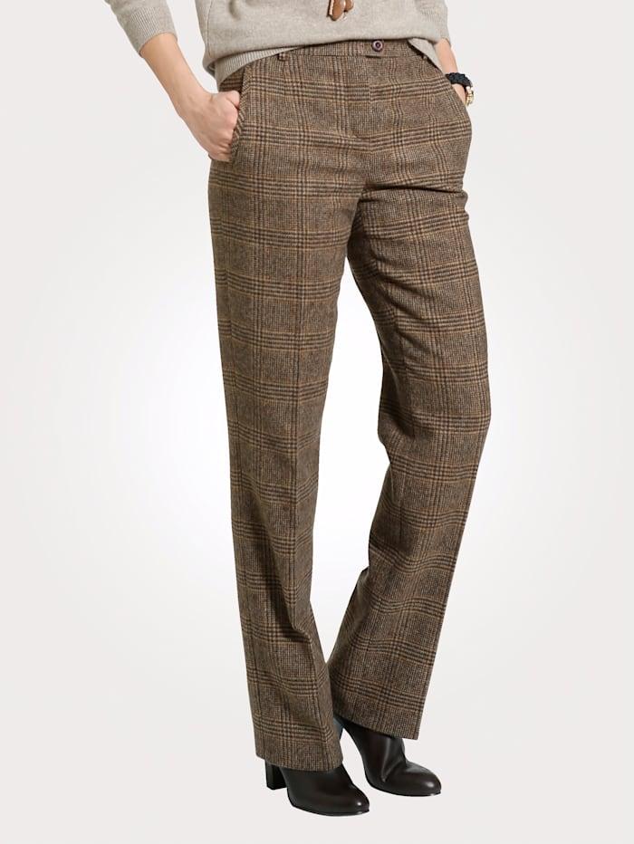 MONA Pantalon avec un motif à carreaux, Sable/Marron foncé