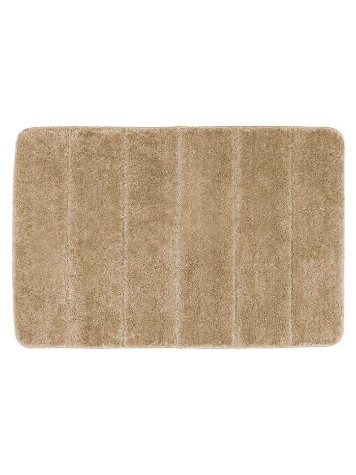 Wenko Badteppich Steps Sand, 60 x 90 cm, 60 x 90 cm, Mikrofaser, Polyester/Mikrofaser: Beige