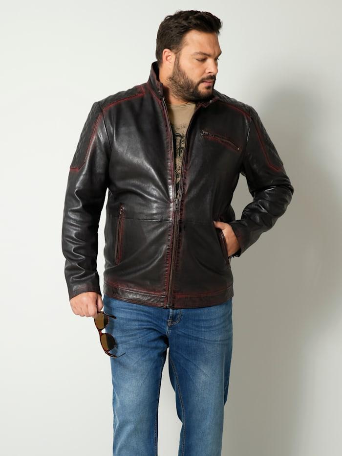 Men Plus Leren jas met opstaande kraag, Zwart/Bruin