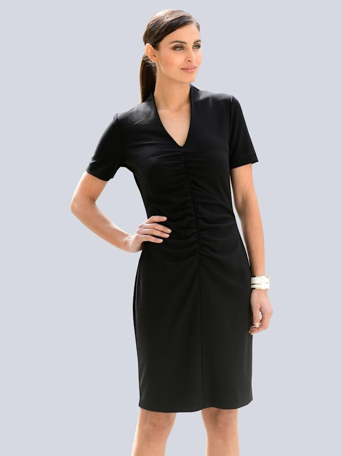 Alba Moda Kleid mit femininen Raffungen vorne, Schwarz