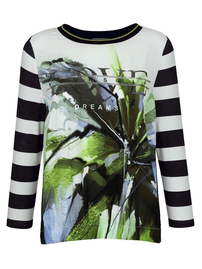 Shirt met materialen- en patronenmix