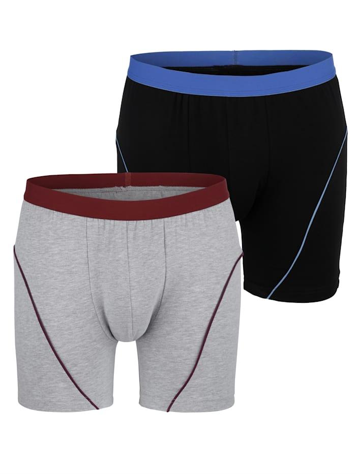 Long-Panty mit Kontrastpaspeln 2er Pack
