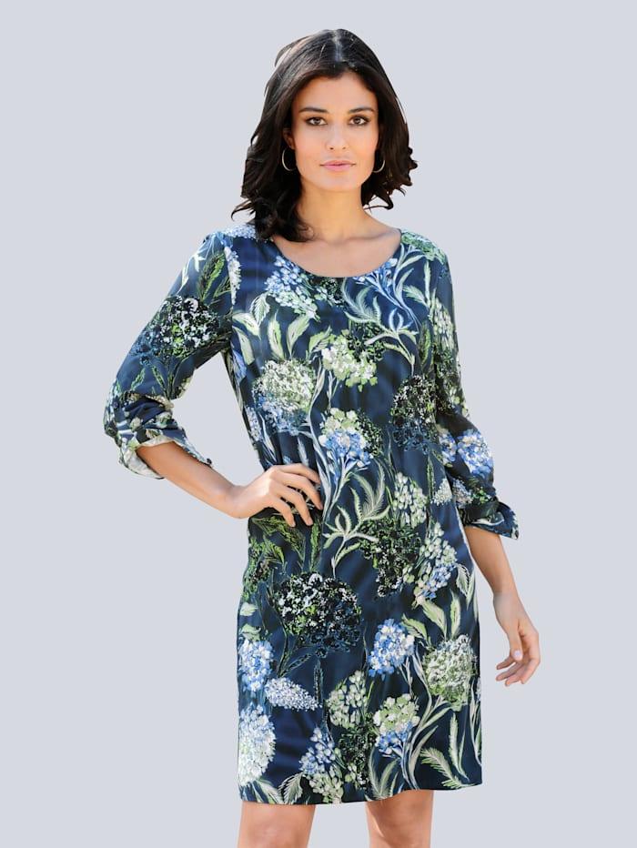 Alba Moda Kleid im floralen Druck allover, Blau/Grün/Weiß