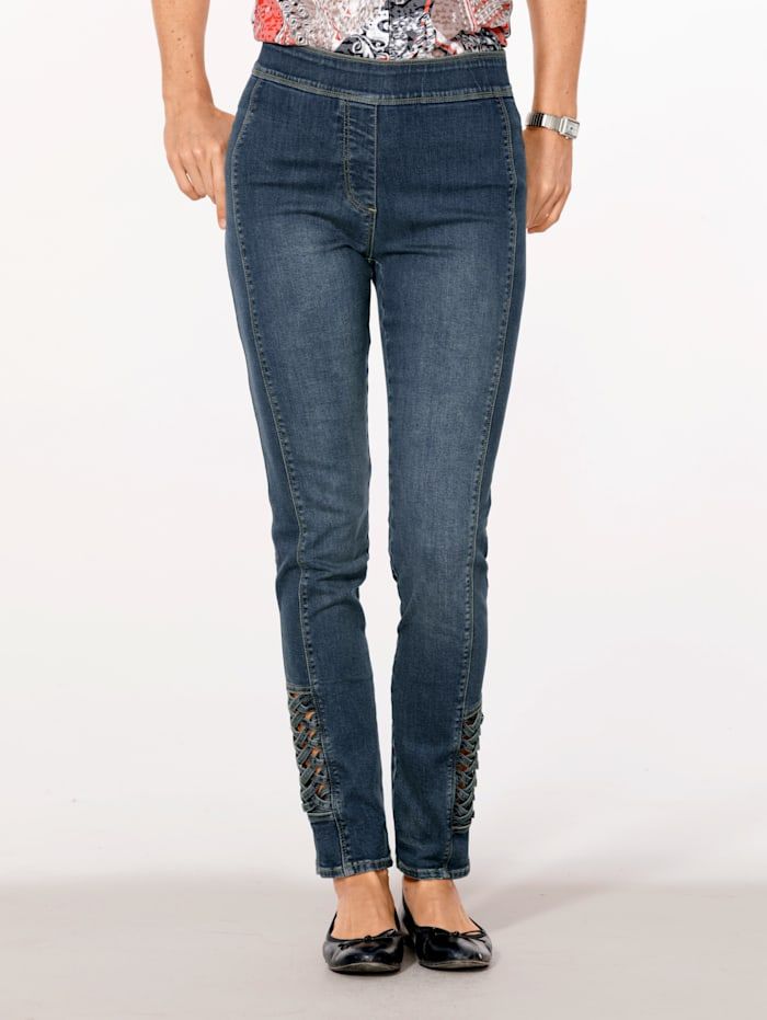 MONA Pull-on jeans with lace-up panels, Blue