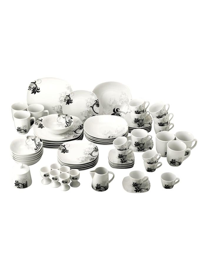 Van Well Porselenserie i 62 deler, Hvit