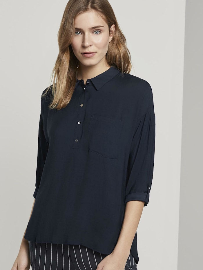 Tom Tailor Denim Fließendes Oversized-Hemd, Real Navy Blue