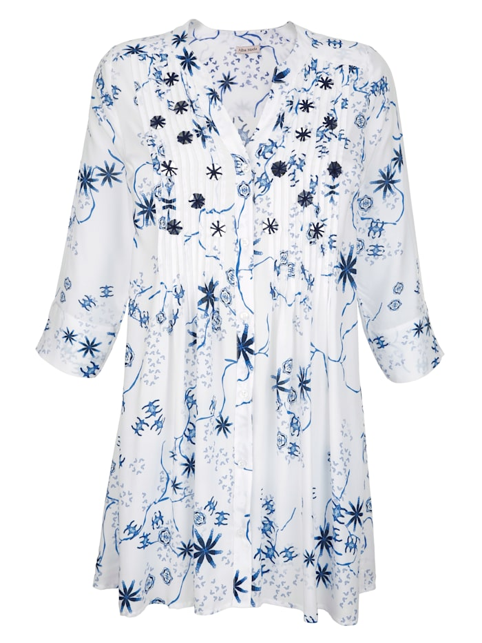 Alba Moda Bluse mit umstickten Pailletten, Weiß