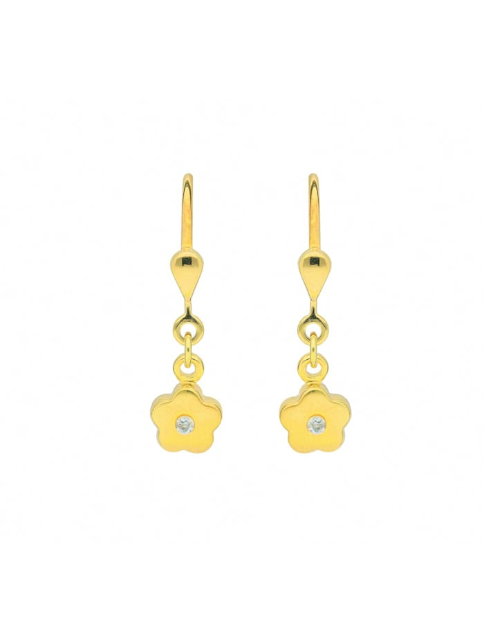 1001 Diamonds Damen Goldschmuck 333 Gold Ohrringe / Ohrhänger Blüte mit Zirkonia, gold