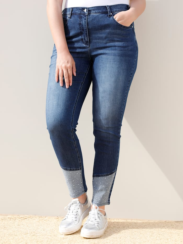 MIAMODA Jeans mit dekorativen Steinchen am Saum, Blue stone