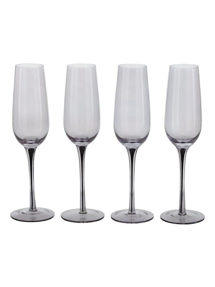 IMPRESSIONEN living Lot de 4 verres, Gris/transparent