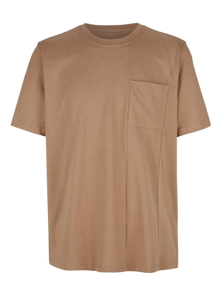 Roger Kent T-shirt med delningssömmar, Beige