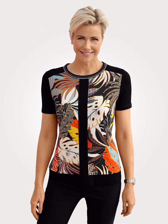 MONA T-shirt à imprimé placé, Orange/Noir/Turquoise