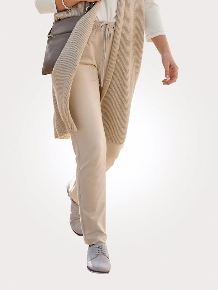 MONA Leisure trousers with rhinestone embellishments, Sand