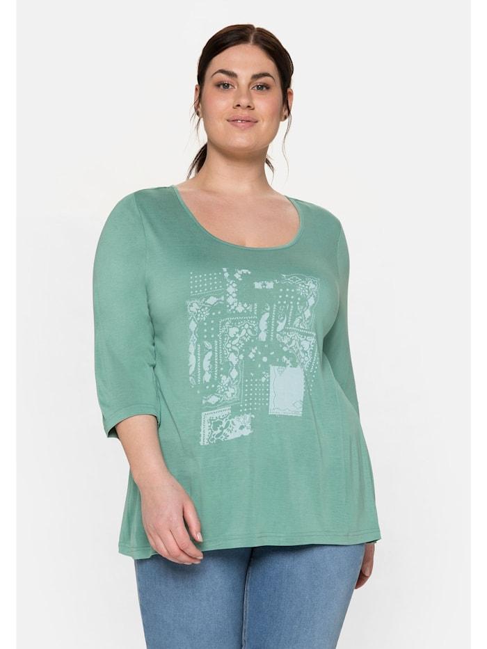 Sheego Shirt mit Frontdruck, salbeigrün