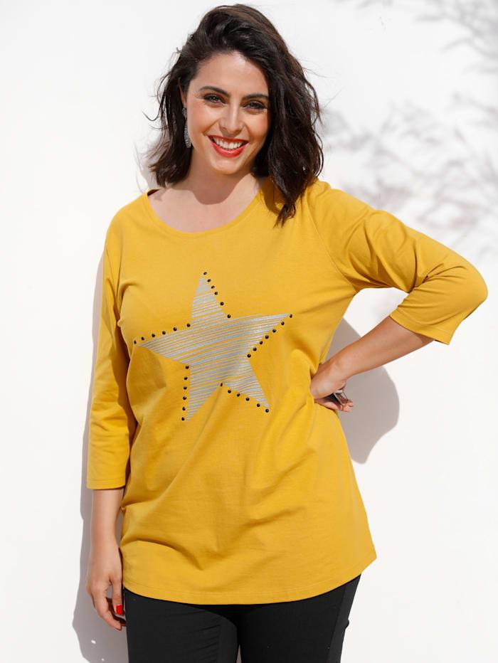 MIAMODA Shirt mit Nieten, Gelb