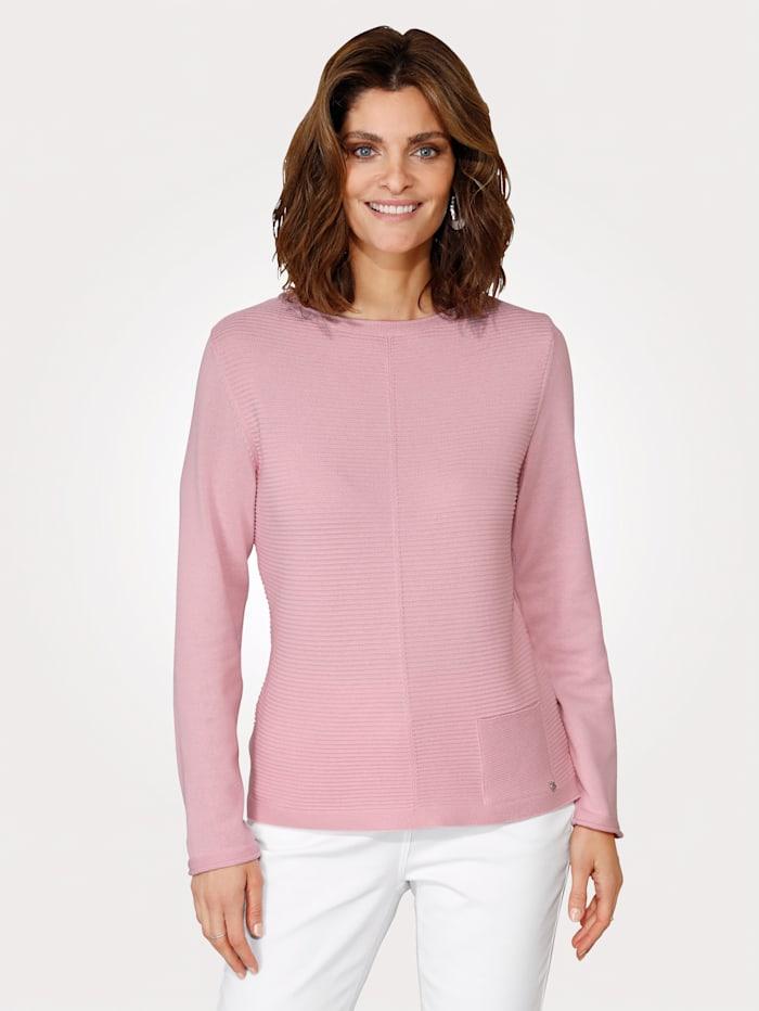 Rabe Pullover mit Strukturstrick, Rosé