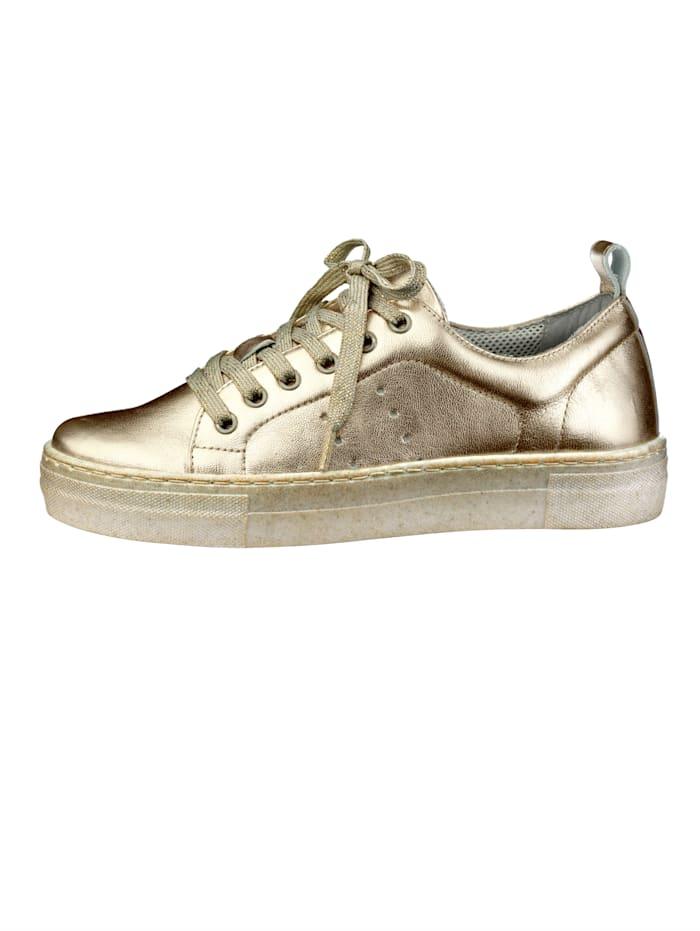 Liva Loop Sneakers à plateau à effet métallisé tendance, Coloris or