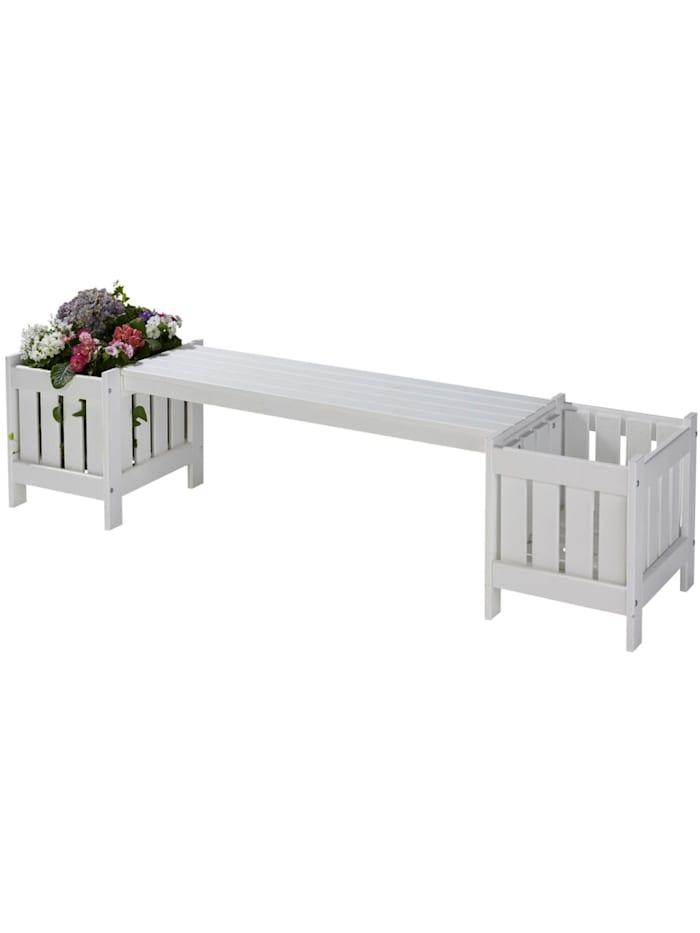 Living Gartenbank mit Pflanzkübeln, Weiß