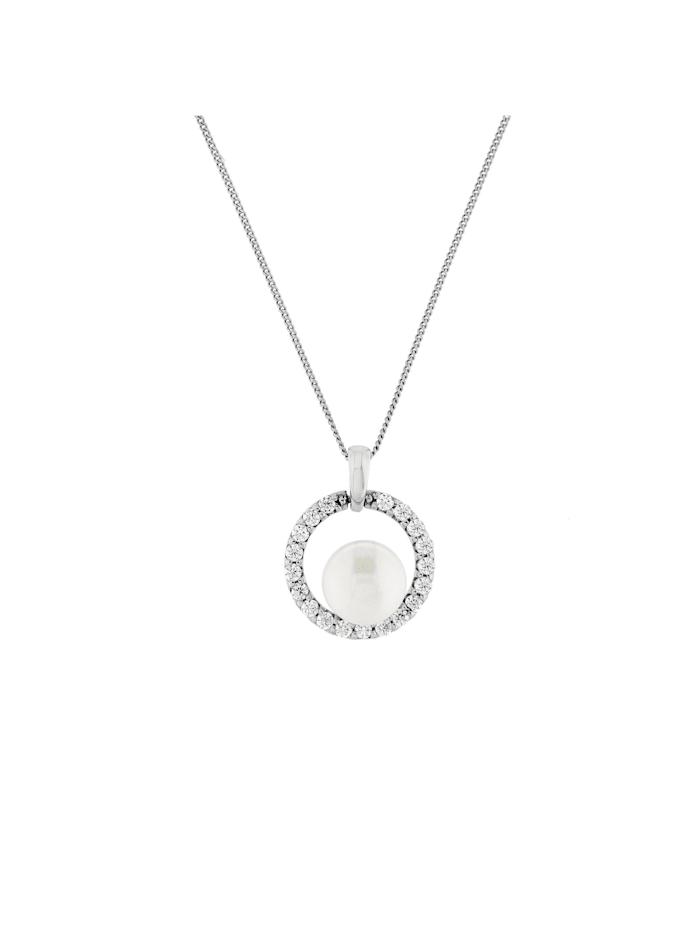 Kette Zirkonia Steine und Perle, Silber 925, diamantierte Panzerkette