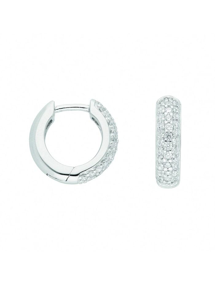1001 Diamonds Damen Silberschmuck 925 Silber Ohrringe / Creolen mit Zirkonia Ø 14,2 mm, silber