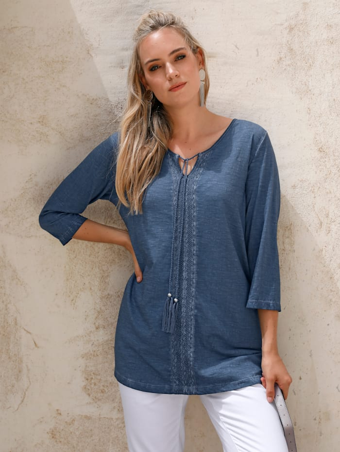 MIAMODA Shirt mit Kordel am Ausschnitt, Hellblau