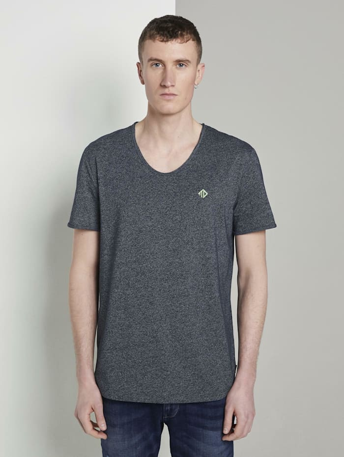 Tom Tailor Denim Strukturiertes T-Shirt mit V-Ausschnitt, Sky Captain Blue Non-Solid