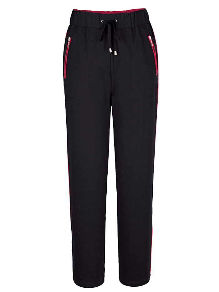 Harmony Loungewear Trousers with chic contrasting piping, Black