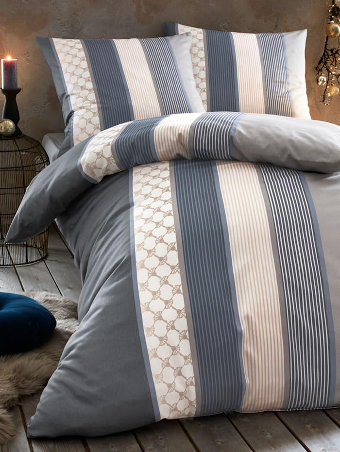 """Parure de lit en satin de coton d'Égypte""""Cornflower Stripes"""""""