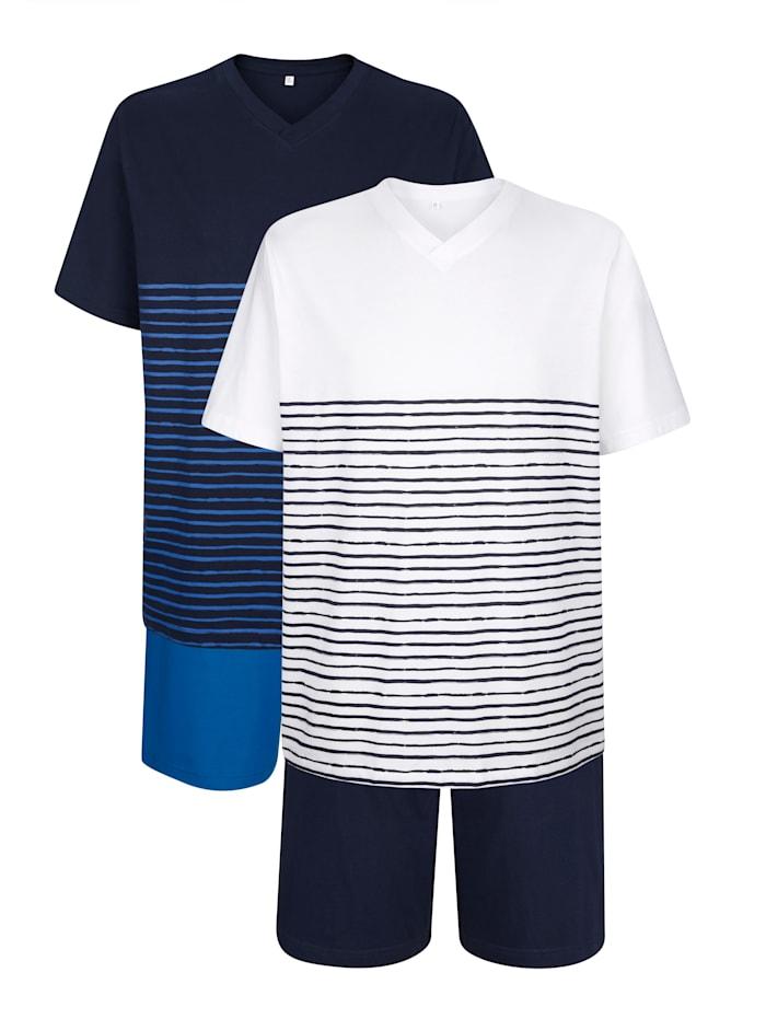 Pyjashorts, Blanc/Marine/Bleu roi
