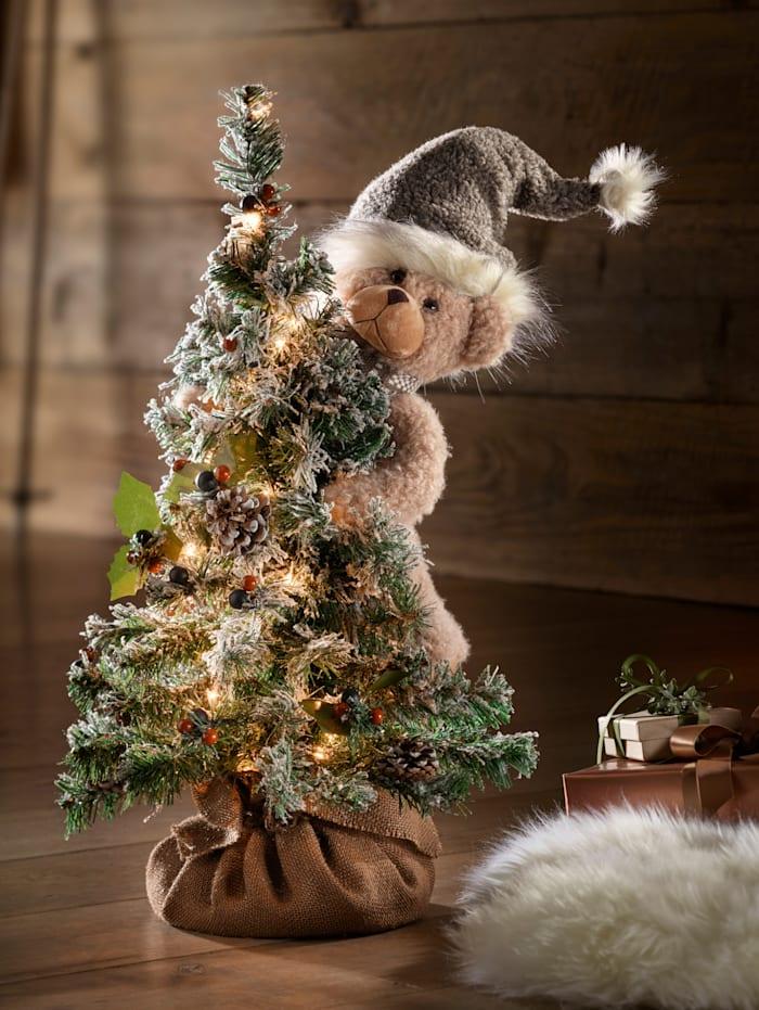 Reinart Faelens Kunstgewerbe Teddybär mit LED-Bäumchen, Creme