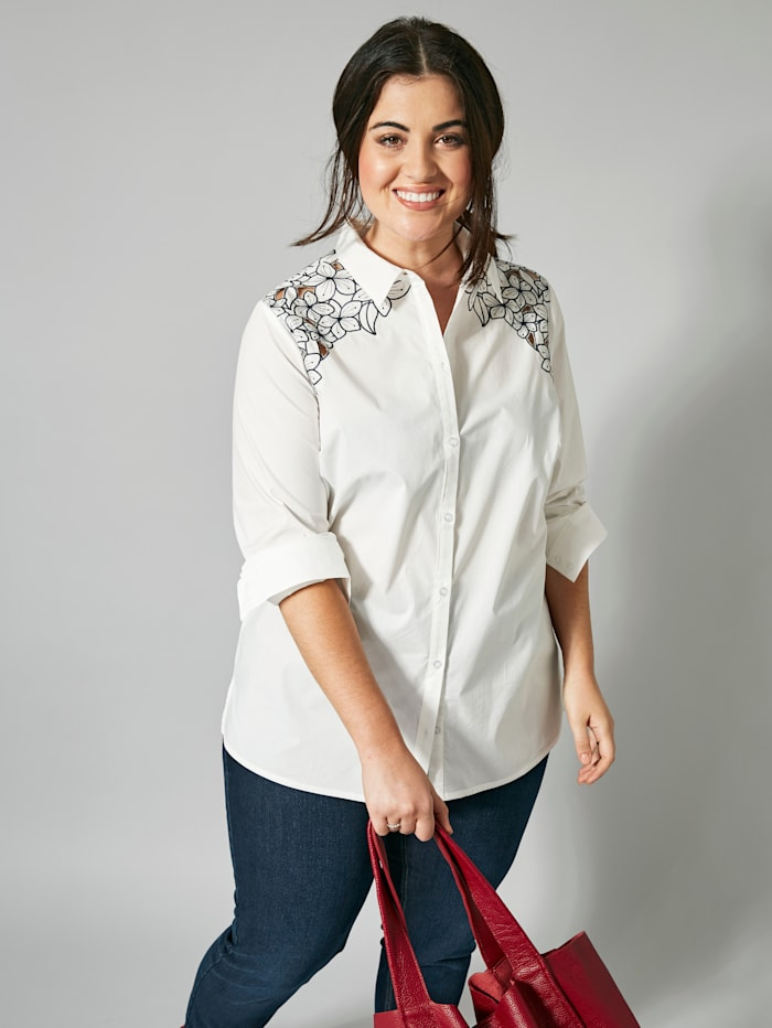 Sara Lindholm Kirjailtu paitapusero, Valkoinen