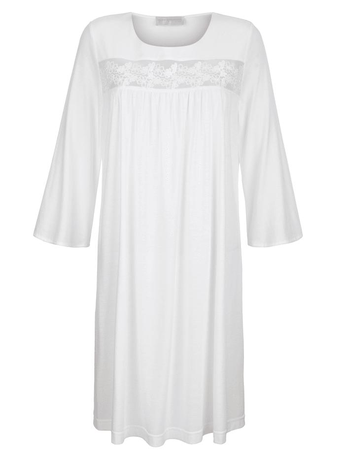 MONA Nachthemd mit romantischer Spitzenstickerei, ecru