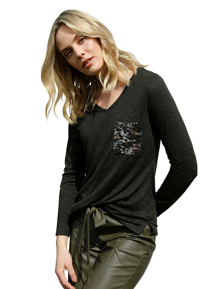 AMY VERMONT Shirt mit aufgesetzter Tasche aus Pailletten, Oliv
