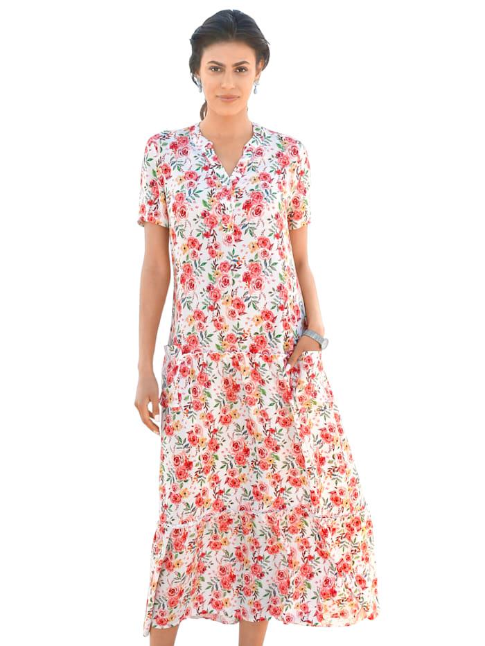 AMY VERMONT Kleid mit floralem Muster, Weiß/Rosé