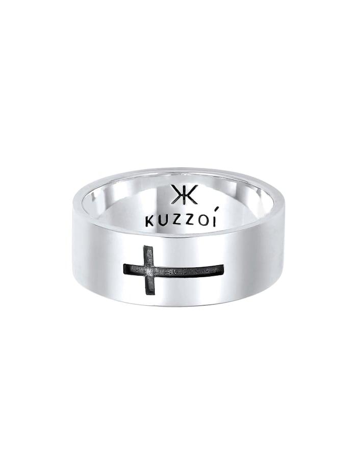 Ring Herren Bandring Glanz Kreuz Glaube 925 Silber