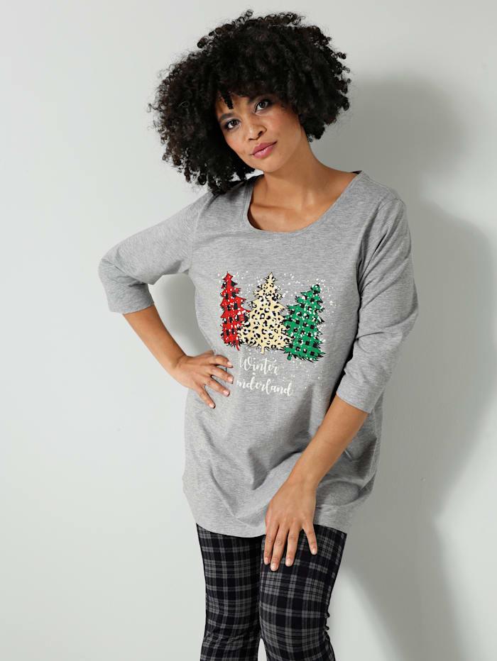 Janet & Joyce Shirt met kerstmotief, Lichtgrijs