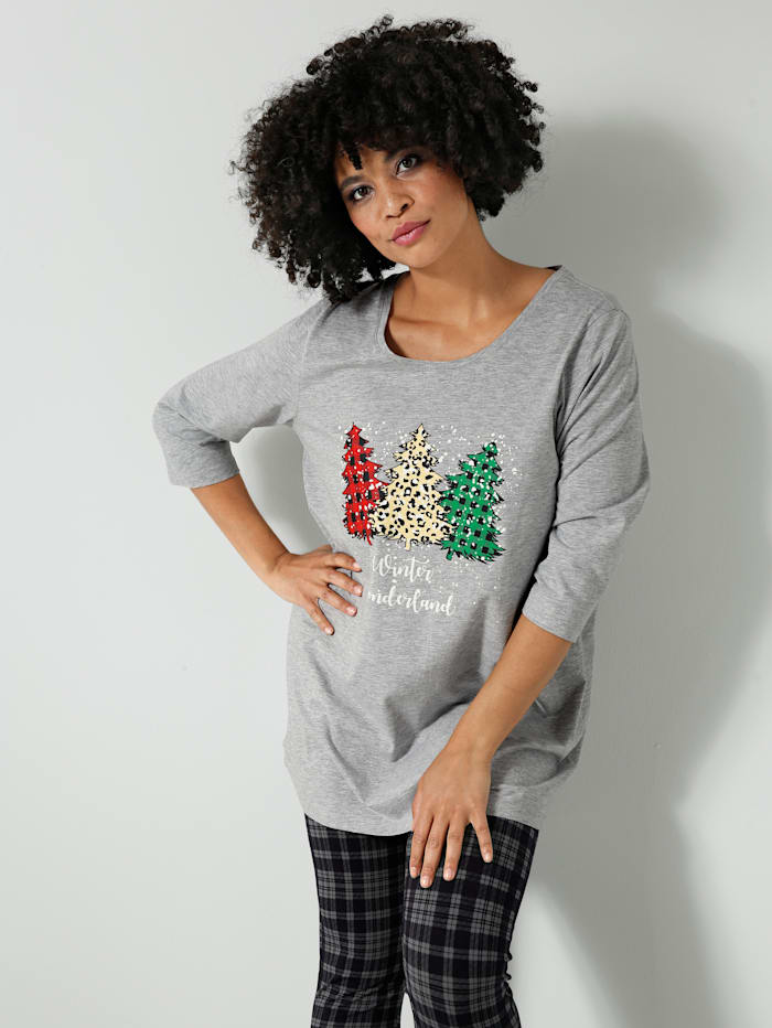 Janet & Joyce Shirt mit weihnachtlichem Motiv, Hellgrau