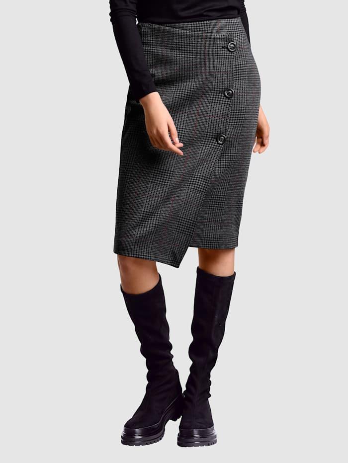 Alba Moda Sukně módní károvaný vzor, Antracitová/Měděná