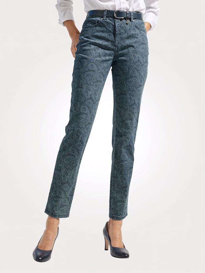 MONA Jeans mit Pasileydruck Dessin, Blau/Marineblau