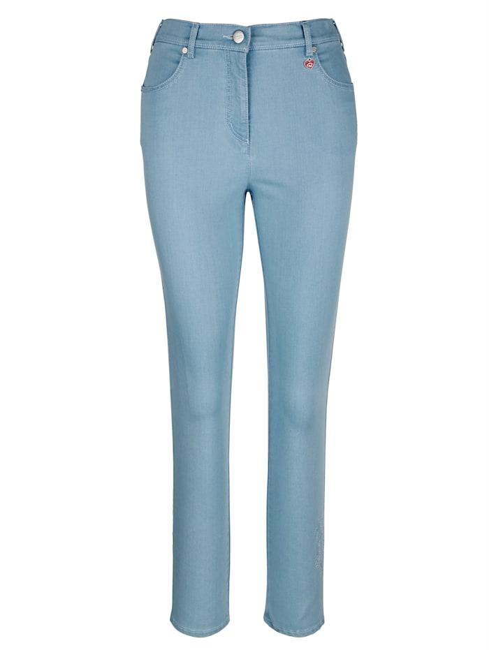 Jeans met ton-sur-ton borduursel