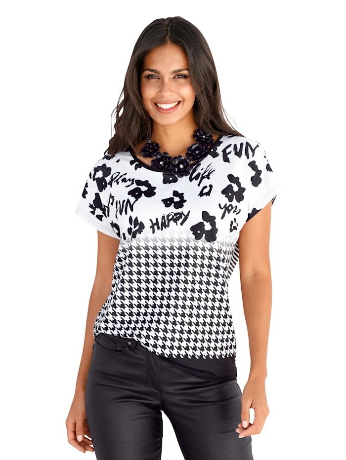 AMY VERMONT Shirt mit Blumenprint und Hahnentrittmuster, Weiß/Schwarz