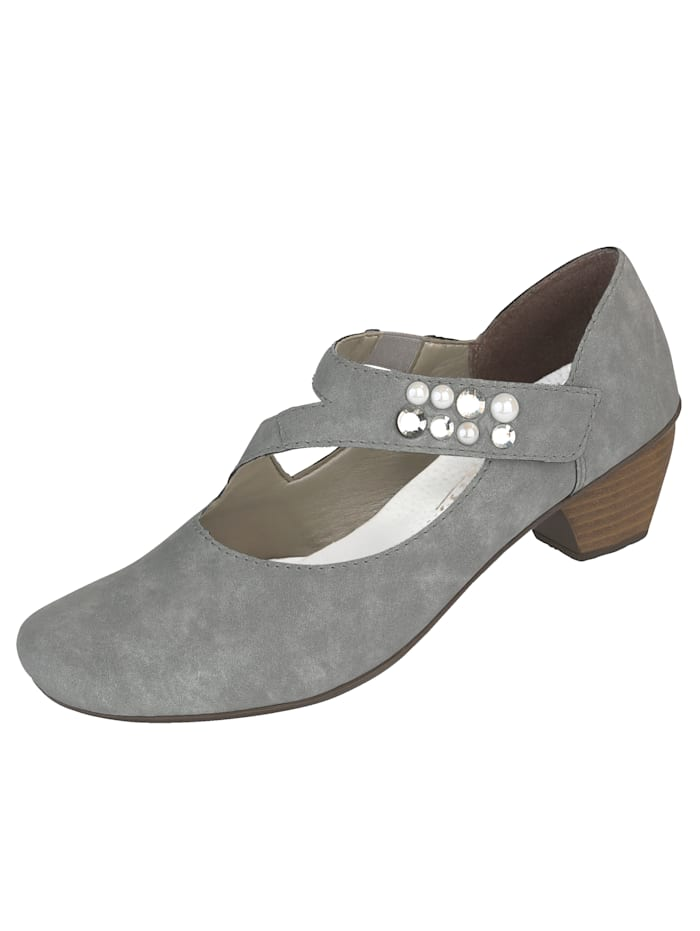 Rieker Court shoes with premium bead detailing, Grey