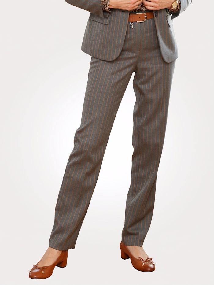 MONA Pantalon à motif rayé, Gris/Cognac