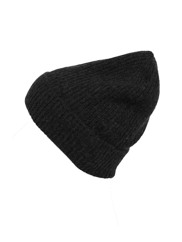 Zwillingsherz Strickmütze Mütze Lucie aus Kaschmir, anthrazit