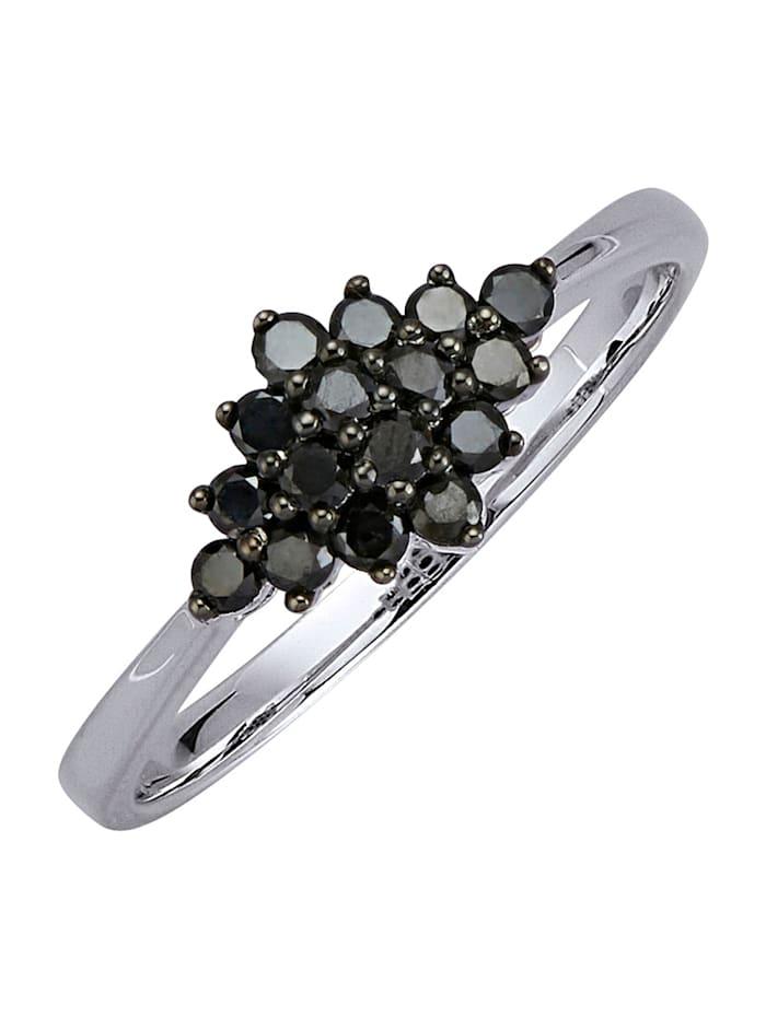 Diemer Highlights Damenring mit schwarzen Diamanten, Schwarz